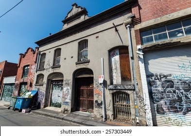 MELBOURNE, AUSTRALIA - February 8, 2015: run down building in a laneway in Collingwood, a working class inner city suburb in Melbourne.