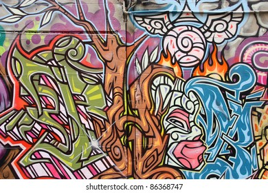 MELBOURNE, AUSTRALIA - FEBRUARY 9: Graffiti by various artists on February 9, 2008 in Hosier Lane, Melbourne, Australia. Hosier Lane a celebrated landmark due to its sophisticated urban art.