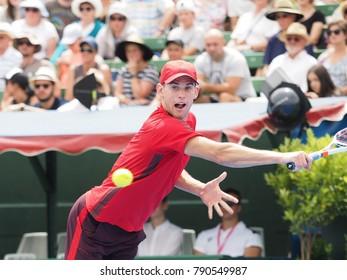 Melbourne, Australia - January 10, 2018: Tennis player Dominic Thiem   preparing for the Australian Open at the Kooyong Classic Exhibition tournament