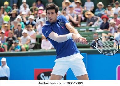 Melbourne, Australia - January 10, 2018: Tennis player Novak Djokovic  preparing for the Australian Open at the Kooyong Classic Exhibition tournament