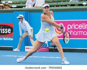 Melbourne, Australia - January 10, 2018: Tennis player Belinda Bencic preparing for the Australian Open at the Kooyong Classic Exhibition tournament