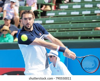 Melbourne, Australia - January 10, 2018: Tennis player Marin Cilic preparing for the Australian Open at the Kooyong Classic Exhibition tournament