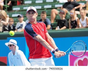 Melbourne, Australia - January 10, 2018: Tennis player Matthew Ebden  preparing for the Australian Open at the Kooyong Classic Exhibition tournament