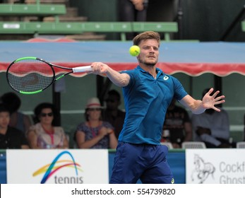 Melbourne, Australia - January 11, 2017: Belgian Tennis player David Goffin preparing for the Australian Open at the Kooyong Classic Exhibition tournament
