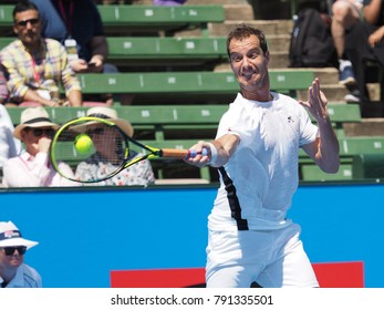 Melbourne, Australia - January 11, 2018: Tennis player Richard Gasket preparing for the Australian Open at the Kooyong Classic Exhibition tournament