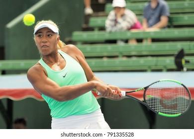 Melbourne, Australia - January 11, 2018: Tennis player Destanee Aiava preparing for the Australian Open at the Kooyong Classic Exhibition tournament