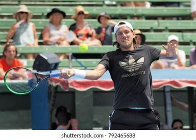 Melbourne, Australia - January 11, 2018: Tennis player Lucas Pouille preparing for the Australian Open at the Kooyong Classic Exhibition tournament