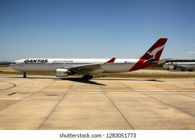 Melbourne, Australia, January 11, 2019: Aircraft of the Australian national carrier, Qantas, taxiing on the runway of Tullamarine airport, Melbourne, Victoria