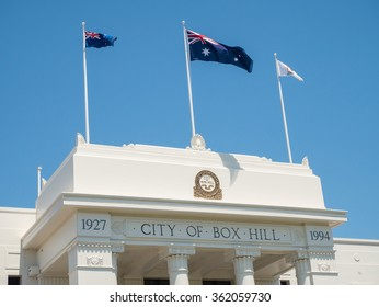 Melbourne, Australia - January 12, 2016: Box Hill Town Hall in the City of Whitehorse in suburban Melbourne was built in the Neo-Grec style in 1935.