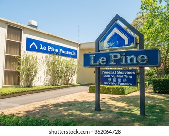Melbourne, Australia - January 12, 2016: Le Pine Funerals are Australian funeral directors and undertakers, operating from 20 funeral homes in Victoria. Pictured is the Box Hill funeral home.