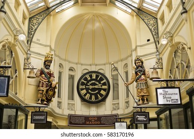 MELBOURNE, AUSTRALIA – January 12, 2017: The Royal Arcade is known for the large carved mythic figures of Gog and Magog flanking Gaunt's clock at the southern entry.