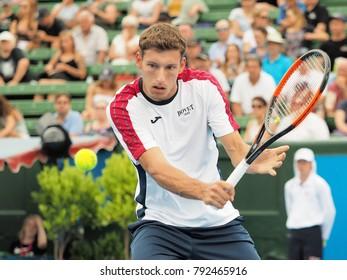 Melbourne, Australia - January 12, 2018: Tennis player Pablo Carreno Busta preparing for the Australian Open at the Kooyong Classic Exhibition tournament