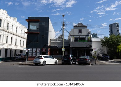 Melbourne, Australia - January 12, 2019: Cars parking at the street in front of buildings.