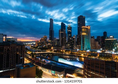 Melbourne, Australia - January 12, 2019: Cloudy dawn view of Melbourne south bank skyline.