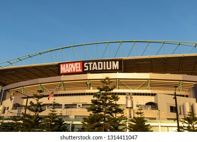 Melbourne, Australia - January 12, 2019: Marvel Stadium view with blue sky.
