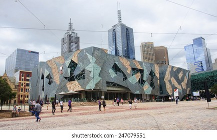 MELBOURNE, AUSTRALIA - JANUARY 14, 2015: Federation Square on 14 January 2015 in Melbourne, Australia. Federation Square is a meeting place in the city center