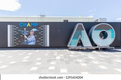 Melbourne, Australia - January 15, 2019: Grand Slam Australian Open at Australian tennis center in Melbourne Park. It is the main venue for the Australian Open since 1988.