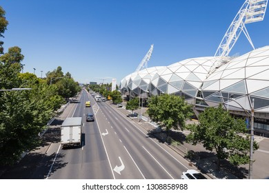 Melbourne, Australia - January 15, 2019: Melbourne CBD with financial towers, view from Melbourne Park where having Grand Slam Australian Open at Australian tennis center.