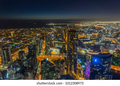 Melbourne, Australia - January 16, 2018: aerial view towards Port Melbourne and South Melbourne from Eureka Skydeck, a popular tourist attraction.