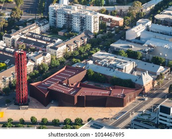 Melbourne, Australia - January 16, 2018: aerial view of the Australian Centre for Contemporary Art and the Malthouse Threatre in South Melbourne. ACCA and the Malhouse are part of a cultural hub.