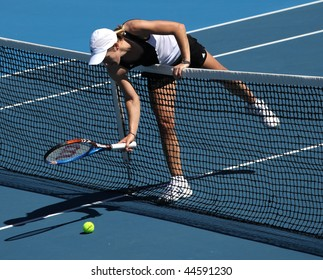 MELBOURNE, AUSTRALIA - JANUARY 16: Justine Henin of Belgium at a practice session ahead of the 2010 Australian Open at Melbourne Park on January 16, 2010 in Melbourne, Australia