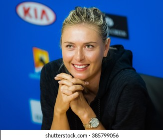 MELBOURNE, AUSTRALIA - JANUARY 16 : Maria Sharapova talks to the media at the 2016 Australian Open