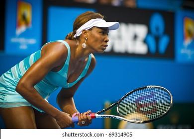 MELBOURNE, AUSTRALIA - JANUARY 17: 2011  Venus Williams(USA)[4]defeats Sara Errani(ITA) at the Australian Open on January 17, 2011 in Melbourne, Australia