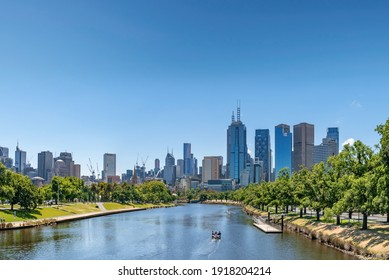 Melbourne, Australia: January 17th, 2021: A modern cityscape with office corporate buildings and skyscrapers, Melbourne, Australia
