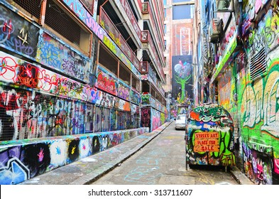Melbourne, Australia - January 18, 2015: View of colorful graffiti artwork at Hosier Lane in Melbourne on January 18, 2015.