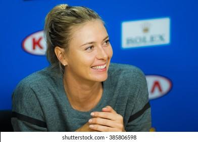 MELBOURNE, AUSTRALIA - JANUARY 18 : Maria Sharapova talks to the media at the 2016 Australian Open
