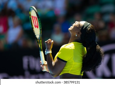MELBOURNE, AUSTRALIA - JANUARY 18 : Serena Williams in action at the 2016 Australian Open