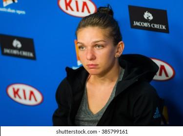 MELBOURNE, AUSTRALIA - JANUARY 19 : Simona Halep talks to the media at the 2016 Australian Open