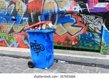 MELBOURNE AUSTRALIA - JANUARY 2, 2016: Graffiti in Hosier lane. Melbourne's graffiti management plan recognises the importance of street art.