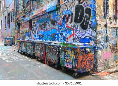 MELBOURNE AUSTRALIA - JANUARY 2, 2016: Graffiti in Hosier lane. Melbourne's graffiti management plan recognises the importance of street art.