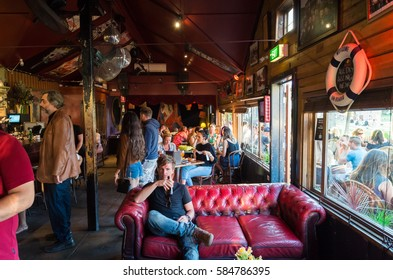 Melbourne, Australia - January 21, 2017: the Vineyard Restaurant is a popular and longstanding restaurant and bar on Acland Street in St Kilda.