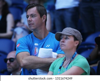 MELBOURNE, AUSTRALIA - JANUARY 21, 2019: Sascha Bajin (L), coach of Grand Slam champion Naomi Osaka of Japan, after her round of 16 match at 2019 Australian Open in Melbourne Park