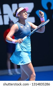MELBOURNE, AUSTRALIA - JANUARY 21, 2019: Grand Slam champion Naomi Osaka of Japan celebrates victory after her round of 16 match at 2019 Australian Open in Melbourne Park