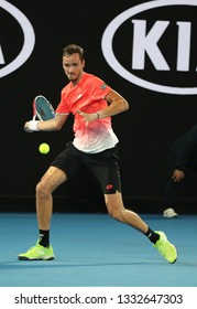 MELBOURNE, AUSTRALIA - JANUARY 21, 2019: Professional tennis player Daniil Medvedev of Russia in action during his round of 16 match at 2019 Australian Open in Melbourne Park