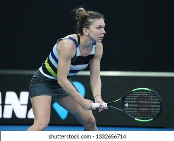 MELBOURNE, AUSTRALIA - JANUARY 21, 2019: Grand Slam Champion Simona Halep of Romania in action during her round of 16 match at 2019 Australian Open in Melbourne Park