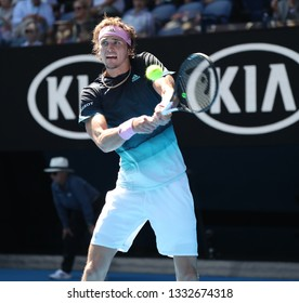 MELBOURNE, AUSTRALIA - JANUARY 21, 2019: Professional tennis player Alexander Zverev of Germany of Japan in action during his round of 16 match at 2019 Australian Open in Melbourne Park