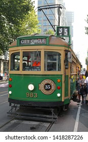 MELBOURNE, AUSTRALIA - JANUARY 21, 2019: The City Circle Tram service provides a free way to get around central Melbourne. Specially tourist use this tram in Melbourne, Australia on January 21 2019