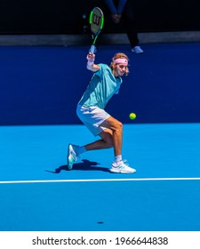 MELBOURNE, AUSTRALIA - JANUARY 21, 2019: Professional tennis player Stefanos Tsitsipas of Greece in action during his quarter-final match at 2019 Australian Open in Melbourne Park