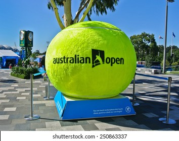 MELBOURNE, AUSTRALIA - JANUARY 21: A huge tennis ball decorated at Melbourne Park during day 3 of the Australian Open on January 21, 2015 in Melbourne, Australia.
