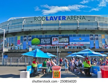 MELBOURNE, AUSTRALIA - JANUARY 21: People waiting in front of Rod Laver Area entrance for Australian Open on January 21, 2015 in Melbourne, Australia.