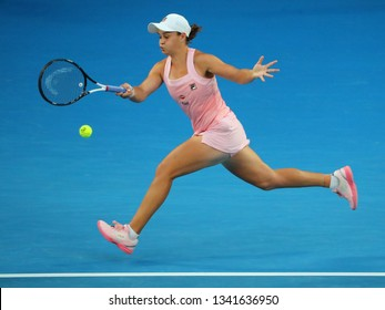 MELBOURNE, AUSTRALIA - JANUARY 22, 2019: Professional tennis player Ashleigh Barty of Australia in action during her quarter-final match at 2019 Australian Open in Melbourne Park