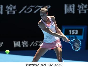 MELBOURNE, AUSTRALIA - JANUARY 22, 2019: Professional tennis player Karolina Pliskova of Czech Republic in action during her quarter-final match at 2019 Australian Open in Melbourne Park