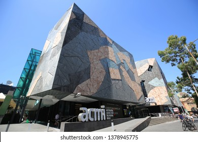MELBOURNE, AUSTRALIA - JANUARY 22, 2019: Australian Centre for the Moving Image at Federation Square in Melbourne. Popular site for locals and visitors, also known as Fed Square was opened in 2002