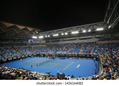 MELBOURNE, AUSTRALIA - JANUARY 22, 2019: Margaret Court arena during 2019 Australian Open match at Australian tennis center in Melbourne Park.