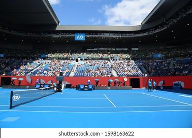 MELBOURNE, AUSTRALIA - JANUARY 22, 2019: Rod Laver arena during 2019 Australian Open match at Australian tennis center in Melbourne Park. It is the main venue for the Australian Open since 1988