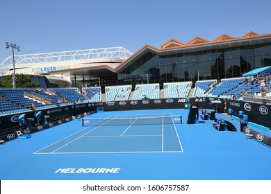 MELBOURNE, AUSTRALIA - JANUARY 22, 2019: Show Court 3, Margaret Court arena and Rod Laver Arena at 2019 Australian Open in Melbourne Park